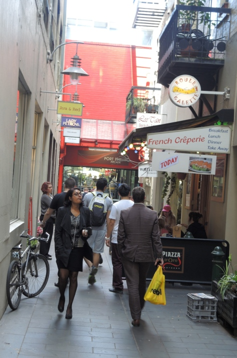 A laneway of shops barely has room for pedestrians, not delivery vehicles.