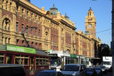 Flinders Street Station for trains, trams, subways, busses