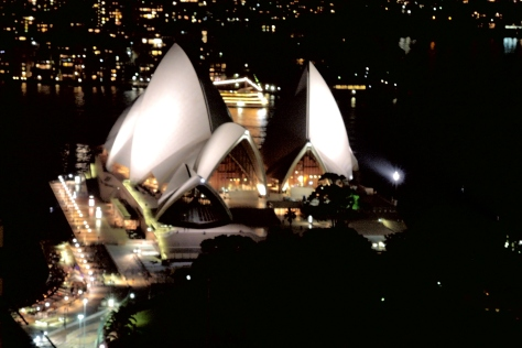 After the sun sets, the lights come up and the Opera House puts on a show from our hotel