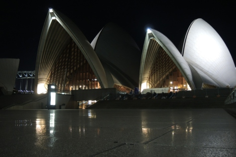 Up close and personal, the face of the Sydney Opera House from the south concourse