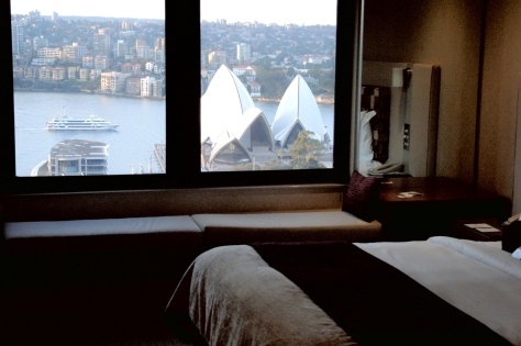 Iconic view out our hotel room window at the Intercontinental of Sydney