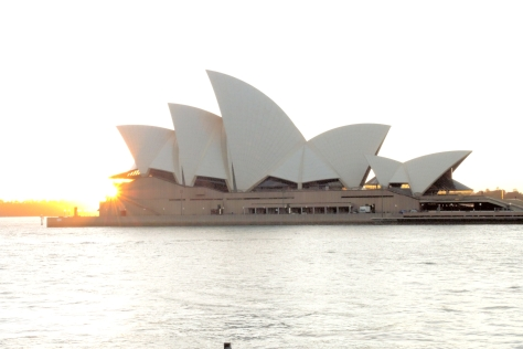 Sunrise lights the sails at Sydney Opera House