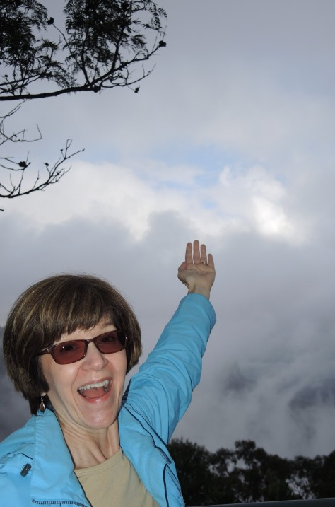 Disbelief had set in that we could see the sun, the Blue Mountains, or even a speck of blue sky, then there it was! Betsy rejoiced. By the time she turned around it was gone, but the camera doesn't lie.