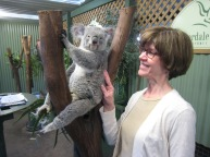 Say hello to Betsy's furry friend Willow as she stares straight into the camera for the photo op at Featherdale Wildlife Park outside Sydney.