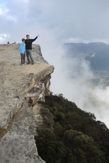 "Hey ""Mista,"" is that a rock ledge in the clouds at a location called Kings Tablelands in the Blue Mountains outside Sydney? Was it safe? Sure! ... It would have been poor taste for her to push him over the edge on their anniversary. :-)"