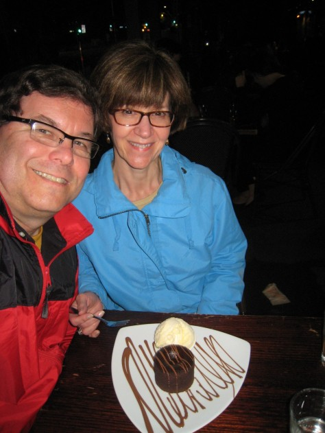 "Is this our first ""selfie"" of the trip on nearly the last night domiciled in Australia? Chocolate soufflé with ice cream is a nice anniversary nightcap to Day 14 and Year 22 at the first retail location for (maybe-not-so-Mad) Max Brenner."