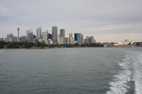 On the ferry to Manly, the big picture shows how the modern metropolitan skyline dominates the attention-getting Opera House at the right. At left, the tower that looks like a toasted marshmellow provides observation points that let tourists grasp the sights from city center to Pacific coastline.