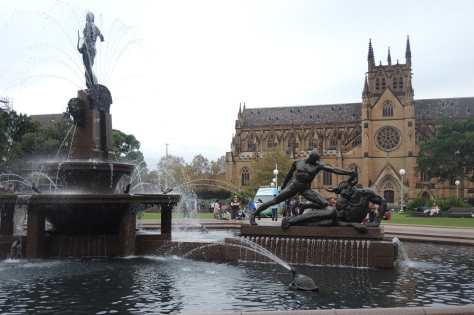 That's only half the huge St. Mary's Catholic Church behind the fountains of Sydney's Hyde Park.