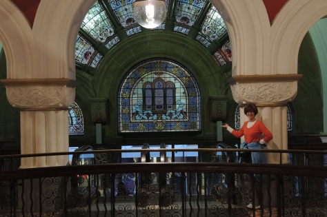 From the inside out you can still enjoy the stained glass masterpieces of the Queen Victoria Building.