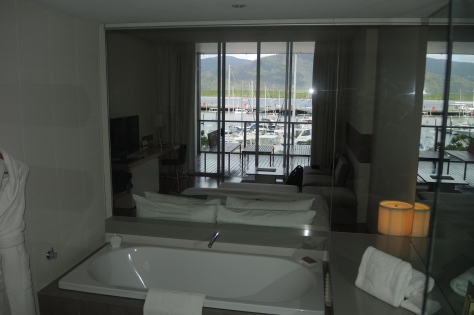 From the bathroom of our room in Cairns, you could see out through a glass wall between the bath and bed. When a screen was lowered in front of the glass, you could still see out but nobody could see in. Bath and view the marina at the same time!
