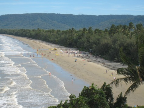Four Mile Beach, Australia, along the Great Barrier Reef. This view is from a hillside at the north end, where our Port Douglas hotel resides.