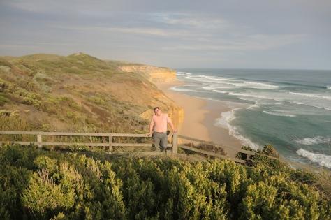 Doug is a speck on the gigantic coastline scene.