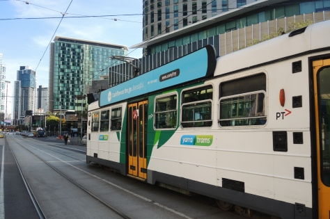 A tram passes our Melbourne hotel, cener-left at the nose of the tram.