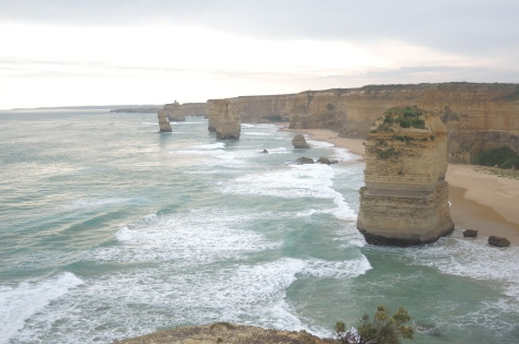 "Some of the limestone towers known as the ""Twelve Apostles."""