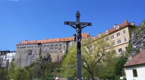 Christ on the cross in the town of Cesky Krumlov, Czech Republic.
