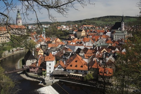 Cesky Krumlov Old Town from the castle.