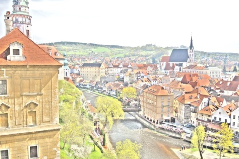 """Painted"" view of Cesky Krumlov from the castle hilltop."