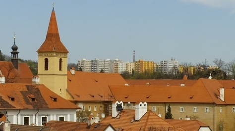 Old Town and distant new housing of Cesky Krumlov, CZ.