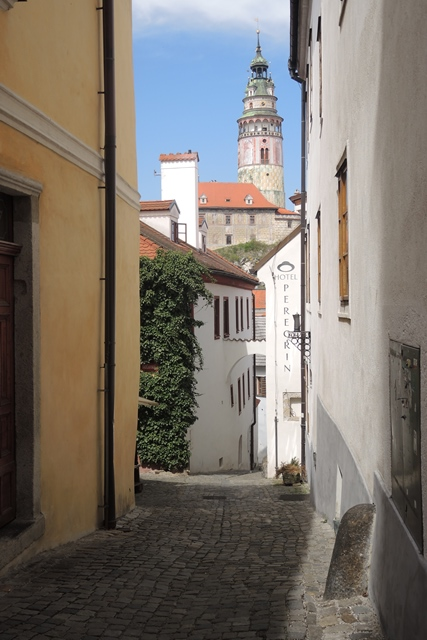 Narrow lanes of Old Town in Cesky Krumlov.