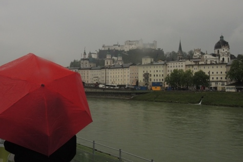 In Salzburg rain, even a castle looks plain.