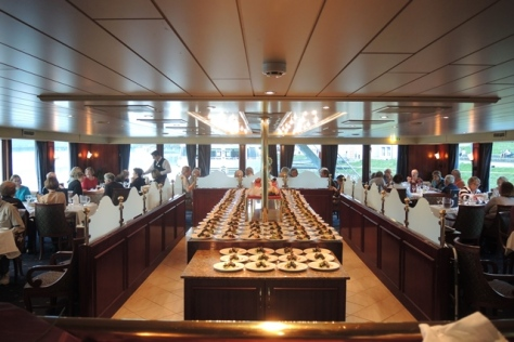 Dining room decked out on the MS River Rhapsody