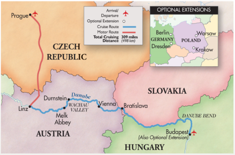 Map: Old World Prague and the Blue Danube Tour, 2015