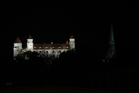 Bratislava Castle shining through the night sky