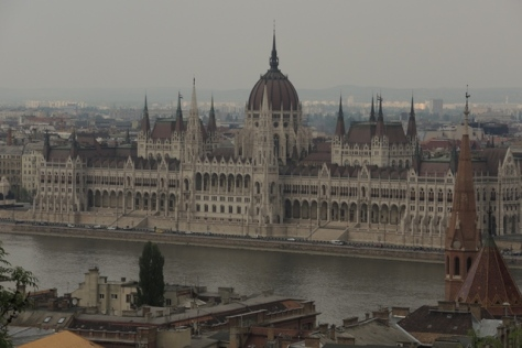 Budapest Parliament from castle hilltop