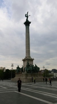 Tall column oversees Heroes Square, Budapest
