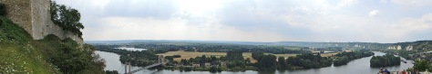 Panoramic view of the River Seine at Les Andelys, Normandy, France, from Chateau Gaillard castle ruins