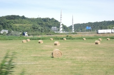 Haystacks along the highway in Normandy