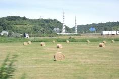 Haystacks along the highway in Normandy