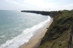 Omaha Beach landing site is east from Pointe du Hoc