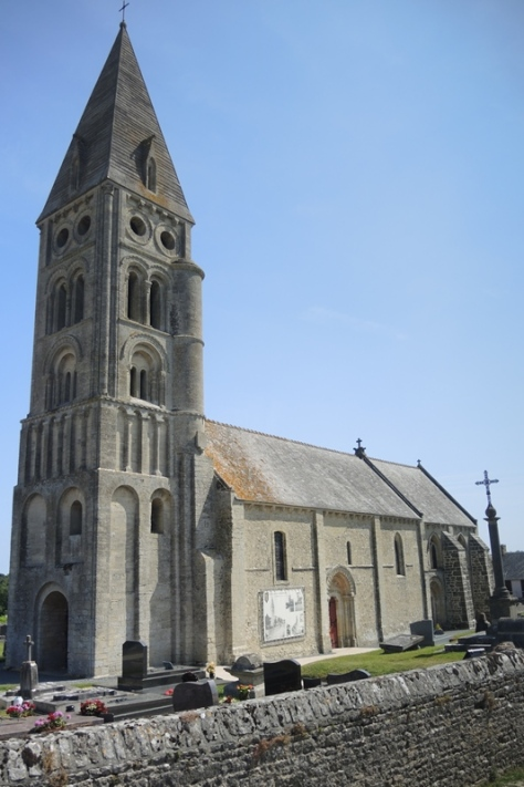Restored church that was in ruins after D-Day